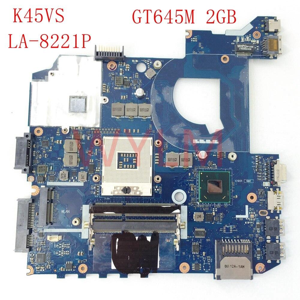 free shipping K45VS QCL40 LA-8221P N13P-GSR-A2 GT645M 2G mainboard For ASUS K45VS A45V A85V K4VM K45VJ K45VD Laptop motherboard