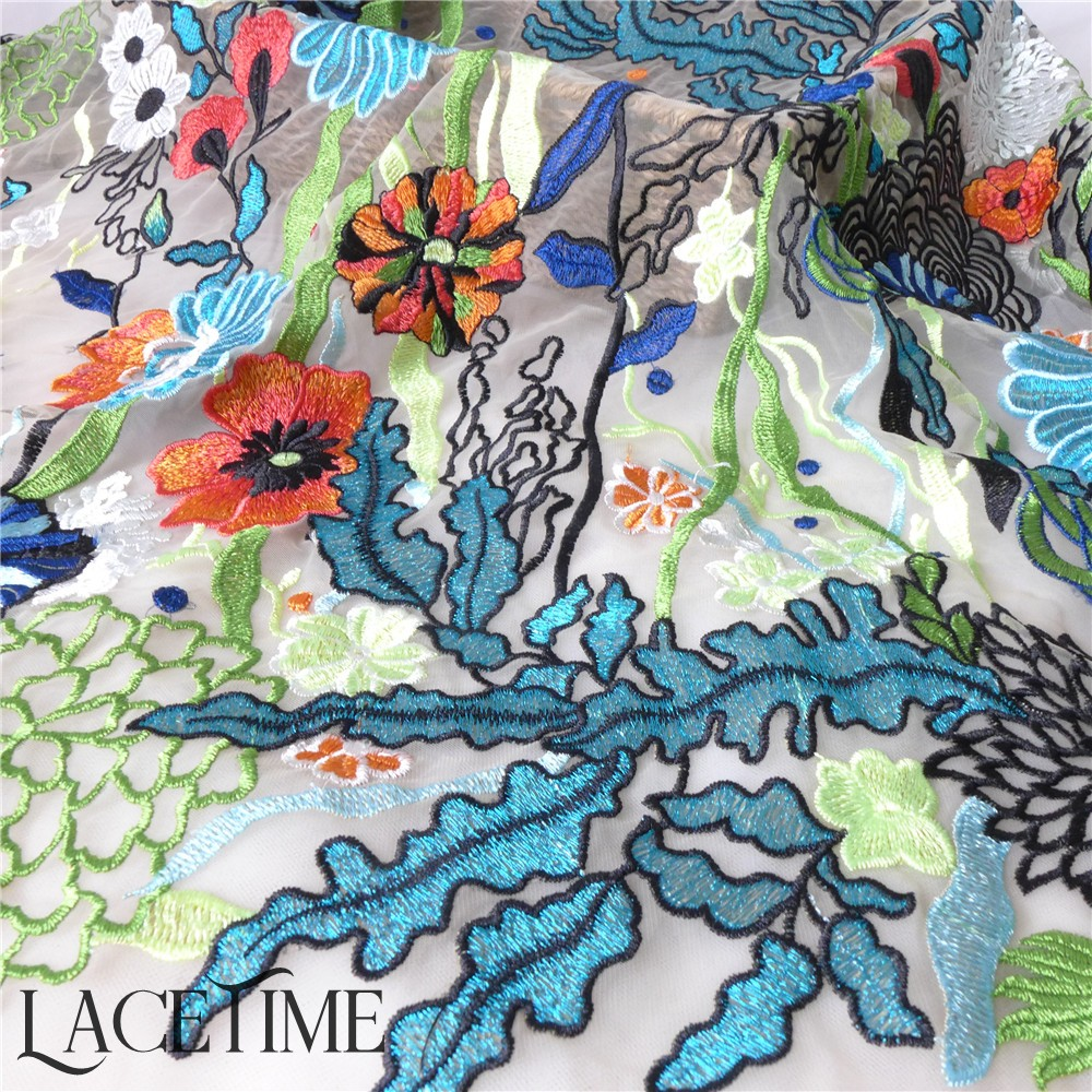 Multi color Embroidered Floral Tulle Mesh Fabric Dot Print Gauze African Wedding Dress Curtain Material DIY Accessories 1 Yard