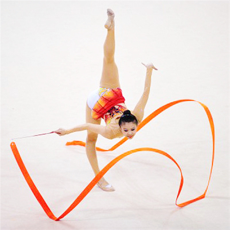 2M/4M Colorful Gym Dance Rhythmic Art Gymnastic Ribbons Ballet Streamer Twirling Rod Stick For Training S