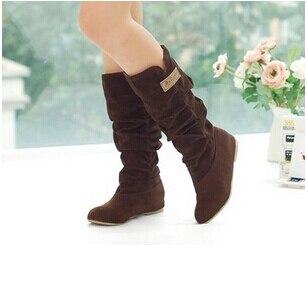amarillo marrón Primavera Otoño Bota Moda Media Princesa Dulce Zapatos Flock Negro Mujer Elegante Flat Botas Nueva 2015 Casuales Pantorrilla WnUgx