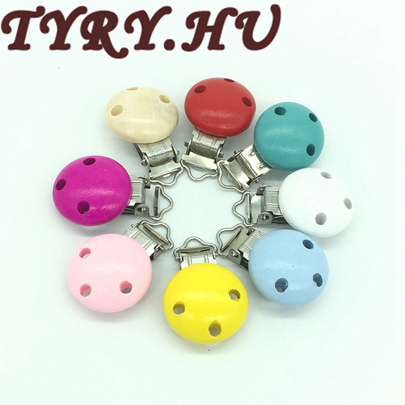 TYRY.HU 60pcs DIY Wood Baby Children Pacifier Clips Holder Round Nipple Holders Soother Holder For Baby Pacifier Dummy Nipple