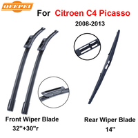 QEEPEI Front And Rear Wiper Blade For Citroen C4 Picasso Grand 2008 2013 Natural Rubber Windscreen