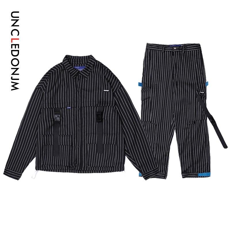 UNCLEDONJM Men Sets Autumn 2019 Patchwork Stripe Outwear Coat Casual Straight Harem Pants Male Fashion Tape Ribbons Trousers