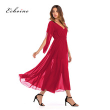 Echoine Evening Party Dress Women V-Neck Overlap Pleat Mesh Semi-Transparent Long Maxi Chiffon Dresses High Waist Woman Clothes