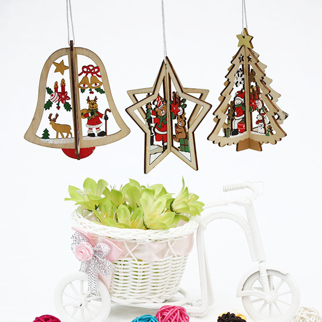 2PCS 3D Xmas Tree Pendants Hanging Wooden Christmas Decorations Home