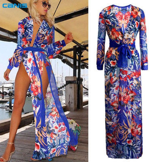 2016 Summer Style Women Sexy Swimsuit Cover Up Long Sleeve Bikini Cover Ups Chiffon Flower Split Beach Long Dress Robe Vestidos