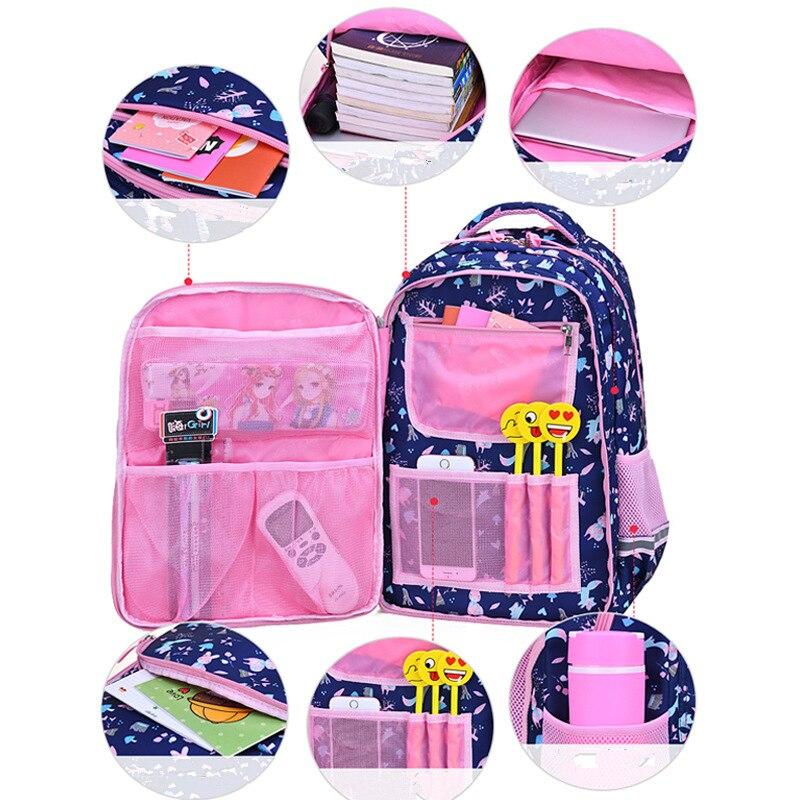 1-6 Flower Cartoon Printing Children School Backpack For Girls Orthopedics School Bags For Girls Suitable For Grades Sac Mochila