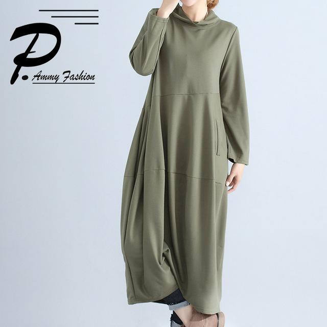 476cb2e30e28 Women s Oversized Lantern Sleeve High Collar Cotton Long Dress Casual Solid  color Loose Long Sleeved Maxi Tunic Dress