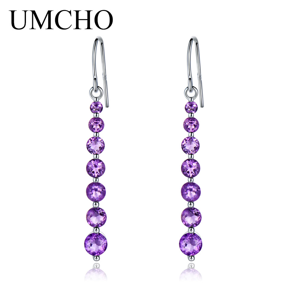 UMCHO Natural Amethyst Purple Gemstone Earrings For Women 925 Sterling Silver Drop Earrings Round Brand Fine jewelry Fashion