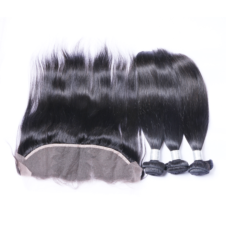 Peruvian Hair Straight Human Hair Bundles with Frontal Closure Brenda Remy Hair Weave Bundles With Frontal