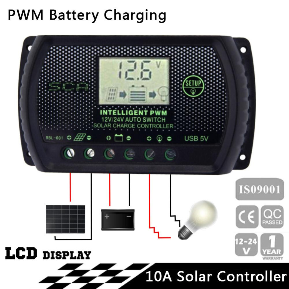Pwm 10a Solar Charge Controller 12v 24v Lcd Display Usb Auto Led View Regulator Light Control Panel Battery Regulators Pjw In Controllers From