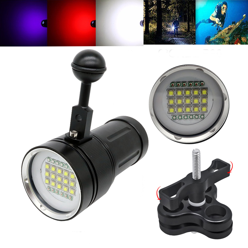 Diving LED flashlight underwater 100m photography fill light flashlight 15CREE XML2 white 18000Lumens with 6 *blue +6 *red light sitemap 15 xml