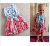 EMS/DHL Ücretsiz nakliye (4 colors) 2015NEW! SıCAK Çocuk Kız Sevimli Pamuk Denim Kumaş Çiçek Elbiseler Yaz için