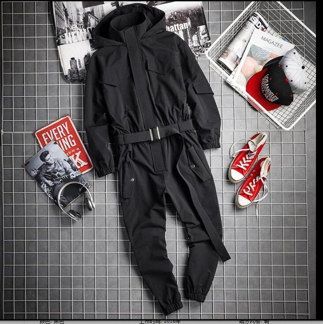 2019 Autumn And Winter Hip Hop Hooded Jumpsuit Japanese Men Retro