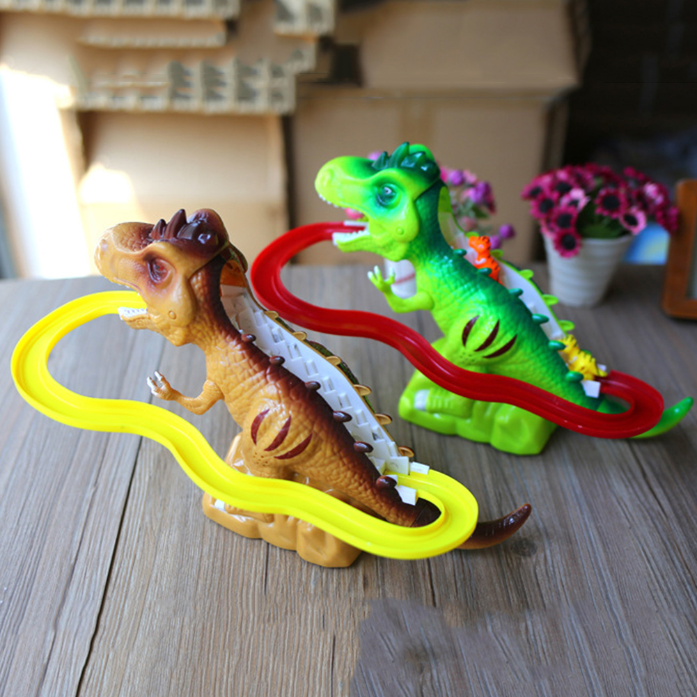 Children Electric Tracks Climb Stair Dinosaur Toys Glowing With Sound Kid Toy Animals Model Interactive Toys Random Color