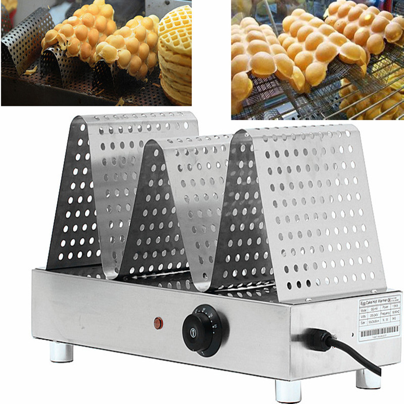 цены 220V Commercial Electric Egg Waffle Warming Displayer Eggettes Bubble Waffle Cake Warmer