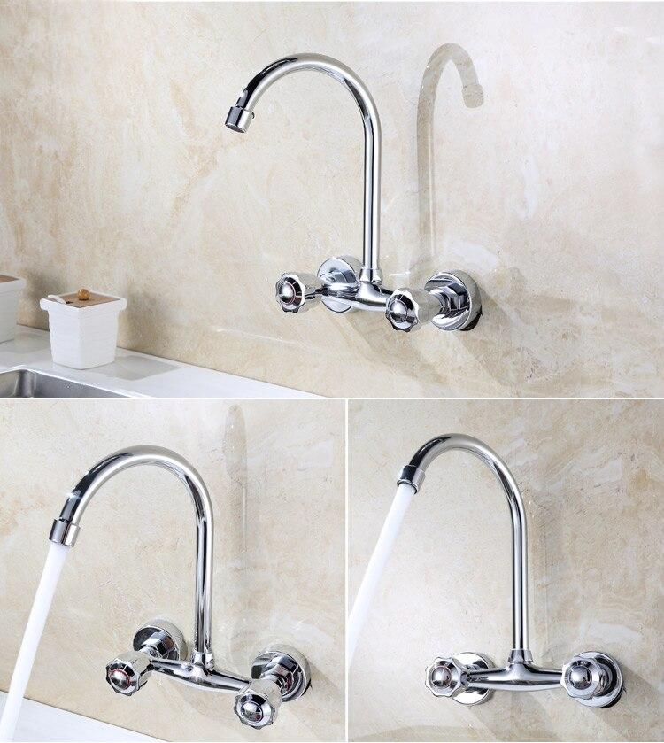 Wand Montiert Küche Wasserhahn Heißen und Kalten Wasser Mischer Kran Zwei Loch Küche Waschbecken Armaturen Kupfer Verchromt