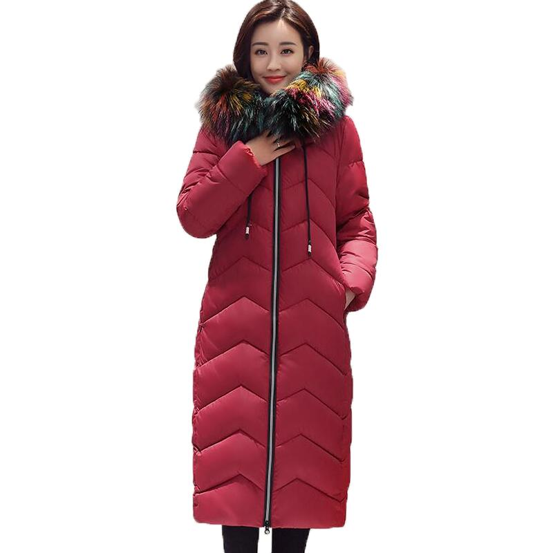 Women Winter Coat Jacket Warm Women Thick Parkas Female Overcoat Fashion Large Fur Collar Cotton Coat  2017 Winter Long Parkas women winter coat leisure big yards hooded fur collar jacket thick warm cotton parkas new style female students overcoat ok238
