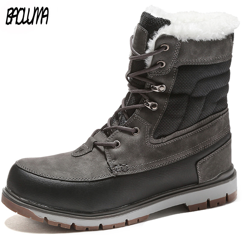 New Winter Men Snow Boots Warm Plush Fur Men Ankle Boots High Quality Male Casual Motorcycle Boots Waterproof Work Shoes