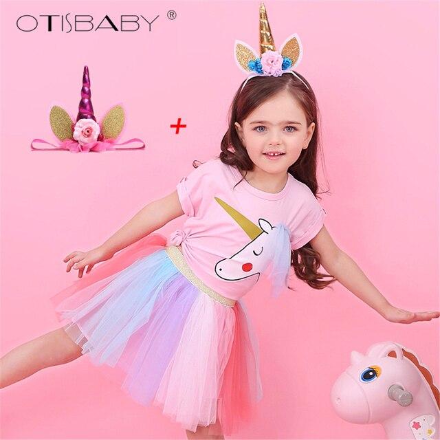 988cb4bcd7fc9 Girls Unicorn Clothing Set Toddler Girls Cotton T-shirts Kids Tulle Rainbow  Tutu Skirts Infant Pink Cute Unicorn Shirt Pony Suit