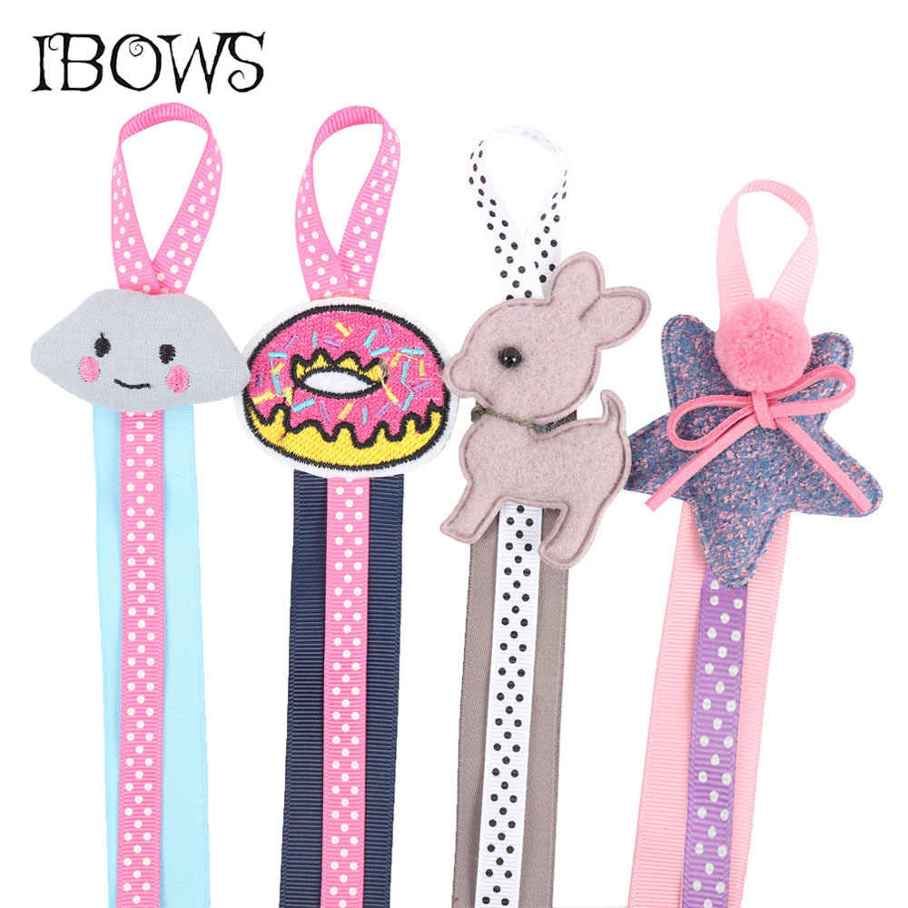 Lovely Hair Bow Holder Handmade Cartoon Dots Long Hair Clip Organizer Grosgrain Ribbon Barrette Holders For Girls