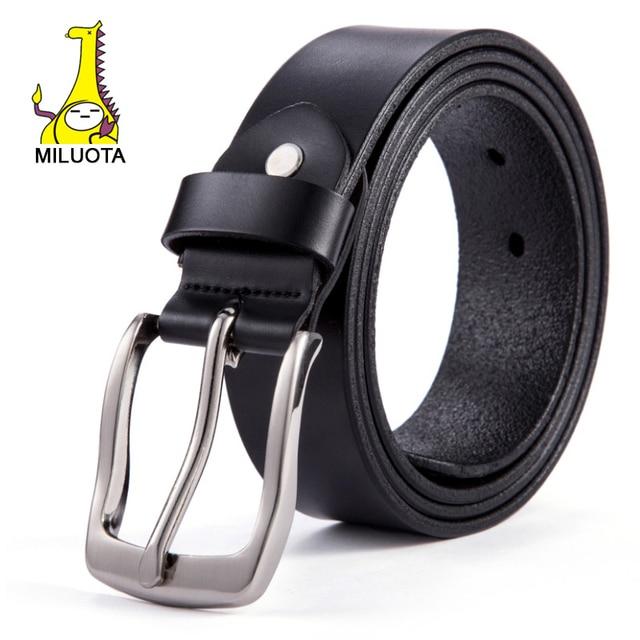 [Miluota] mais novo 100% genuine cintos de couro para homens homens cinto de metal moda pin fivela de cinto masculino ceinture lw458