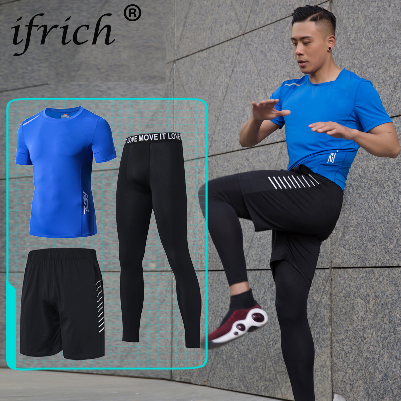 IFRICH Compression Quick Dry Tight Tracksuit Mens Fitness 3 Pieces Sleeveless  Black T Shirt Pant Suit Male O-neck  Set For Men