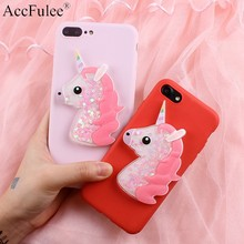 Bling Cute Horse Case for Samsung Galaxy J1 mini Ace J2 Prime J3 2016 J5 2017 J7 Dynamic Glitter Liquid Horse Soft TPU Cover(China)