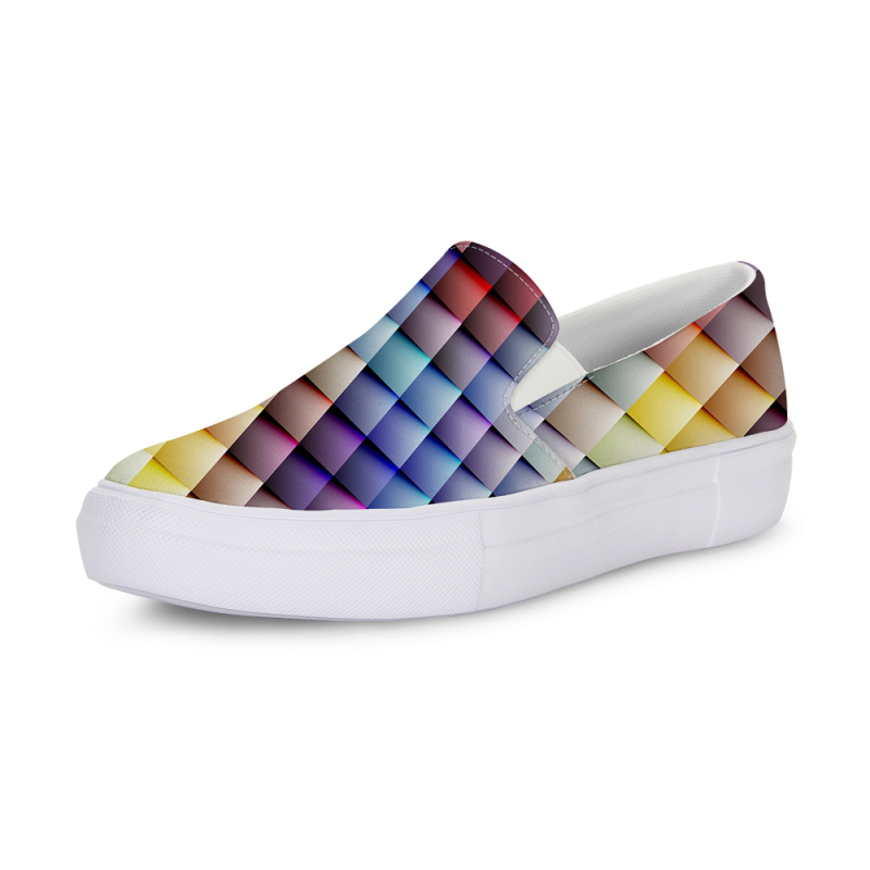 2018 Women Flat Shoes 3D Printing Gingham Design Lady Cool Slip On Canvas Rubber Sole Loafer Sapatos Femininos Soft Mom Sneakers