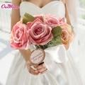 Ручной работы Реального Сенсорный Шелк Выросли Ленты Люкс Для Невесты Букет Цветов Свадебные Украшения