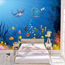 Custom wallpaper hand-painted underwater world childrens room background wall decoration waterproof material
