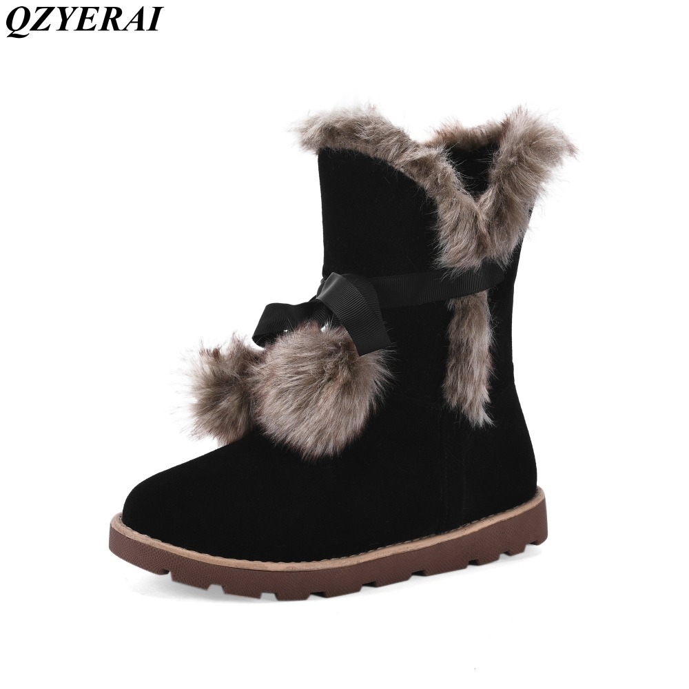 Snow boots new arrival fashion winter girl in the snow boots high quality cattle anti velvet