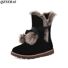 Snow boots  new arrival fashion winter girl in the snow boots high quality cattle anti-velvet material production women's shoes