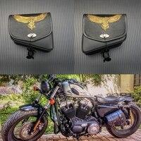 For Harley Sportster XL 883 Honda Yamaha Suzuki Black PU Leather Saddle Bag Motorcycle Luggage Eagle Left+Right Side Saddle Bag