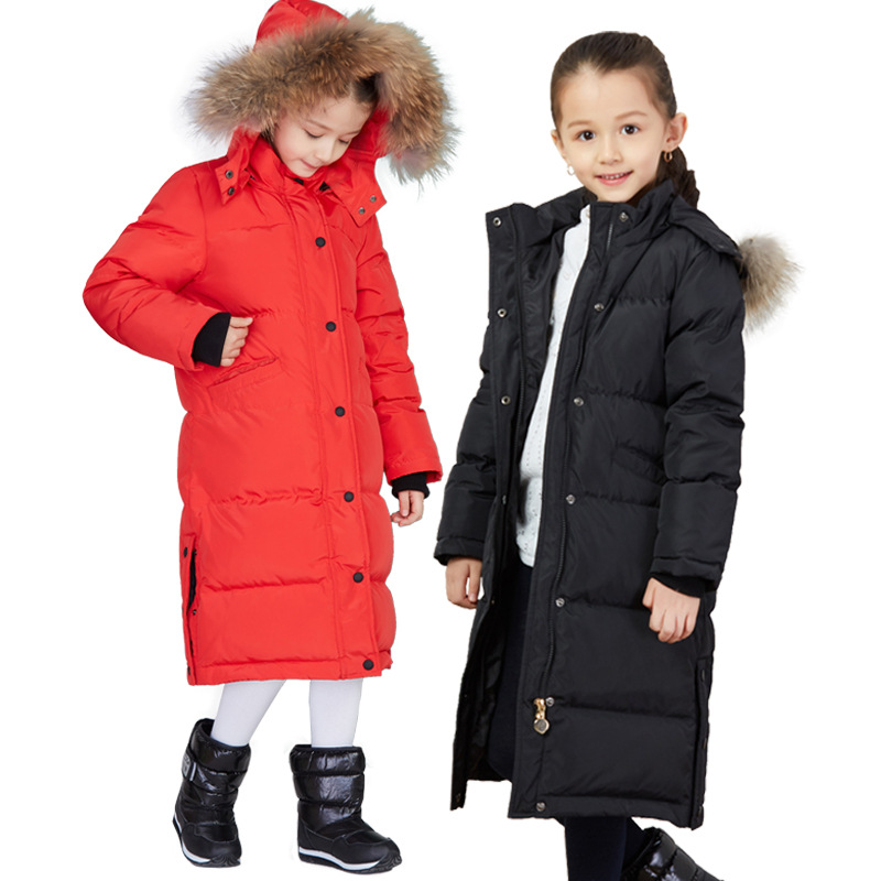 X-Long Winter Down Coat Kids Girls Outfit Big True Fur Collar Thicken Warmly Winter Jackets age 6 8 10 12 14 years Teenage Girls