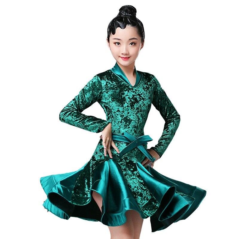 Image 4 - 2018 girls latin dresses for dancing ballroom dance dress rumba samba velvet children samba cha cha tango skirt standard salsa-in Latin from Novelty & Special Use