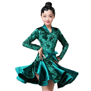 Image 4 - Autumn Winter latin dresses for dance ballroom dance dress rumba samba velvet children samba cha cha tango skirt standard salsa