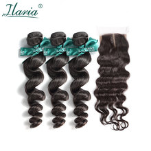 ILARIA HAIR Brazilian Loose Wave Human Hair Bundles With Closure Unprocessed Hair Weave 3 Bundles With Silk Base Top Closure(China)