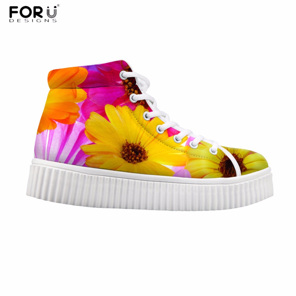 FORUDESIGNS Fashion Floral Style Women High Top Flats Shoes Brand Designer Female Casual Platform Boots Women Height Increasing