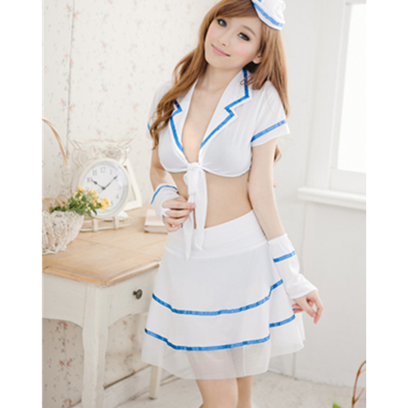Hot sale sexy lingerie COSPLAY blue sailor nurse babydoll dress temptation costume transparent sexy underwear teddies Uniform