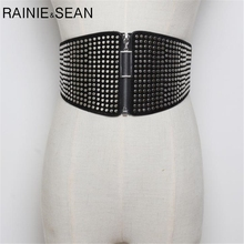 RAINIE SEAN Belts Cummerbunds For Women Punk Elastic Rivet Extra Wide Ladies Belt Waist Belt Black Leather Corsets