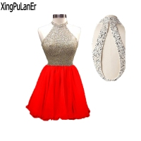 Vestido De Festa A Line Halter Keyhole Open Back Sequins Top Short Homecoming Dress Custom Made