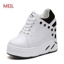 6a9ae4b2ba Mulheres brancas tênis de plataforma mulher sapatos Aumento da Altura 10 CM  2018 senhora sapatos de cunha de salto alto da moda .
