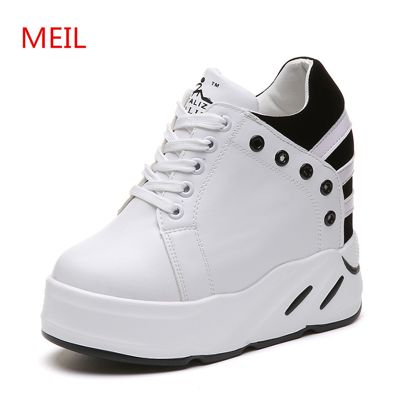 54c1af3a0d2 Women white platform sneakers shoes woman Height Increase 10CM 2018 lady high  heels fashion casual wedge shoes for women tenis