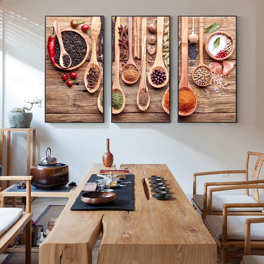3 Panels Condiments In The Kitchen Wall Art Canvas Prints ...