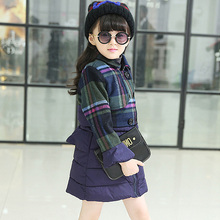 New Fashion 2016 Winter Girls Jacket Coats Plaid Double Breasted Girls Clothing Winter Girl Cotton-padded Outerwear Girls Parkas