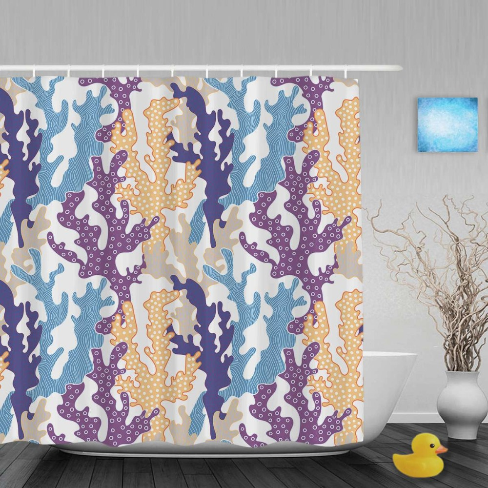 Colorful Corals Decor Bathroom Shower Curtain Sea Life Designed Shower  Curtains Waterproof Mildew Polyester Fabric With Hooks