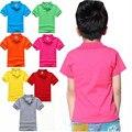 Hot Sale 2017 Marca de Moda de Algodão Do Bebê Meninos Camisa Pólo Sólida cor Casual-Manga Curta Camisa Polo Meninas Do Bebê para 3-7 Anos de Idade