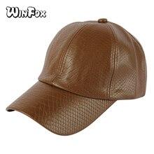 979b12fce8851 Winfox moda Hip Hop PU de cuero de cocodrilo rojo marrón hombres gorra de  béisbol del