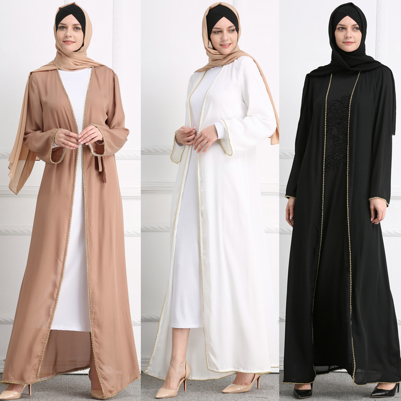 Plus Size Open Abaya Kimono Muslim Dubai 2019 Kaftan Women Beading Maxi Cardigan Hijab Dress Turkish Islamic Ramadan Clothing
